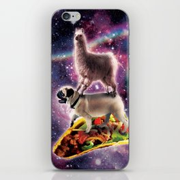 Rainbow Space Llama On Pug Riding Taco iPhone Skin