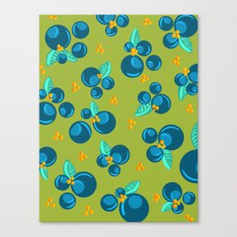 Blueberries | Green Canvas Print
