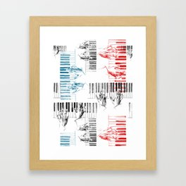 A piano pattern in black/red/blue Framed Art Print