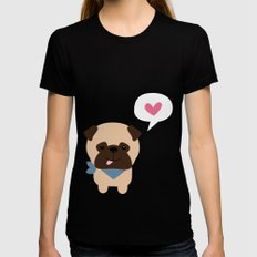 Pancho the Pug Black LARGE Womens Fitted Tee