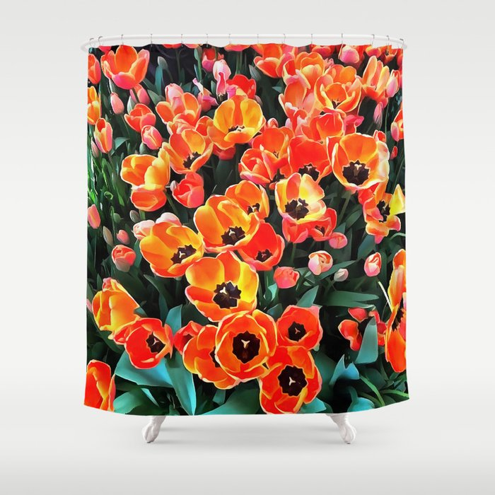 Bright Red Tulips Of Istanbul Shower Curtain