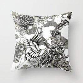 Cranes (B&W) Throw Pillow