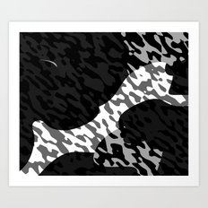 Black gray and White Camouflage Abstract Art Print