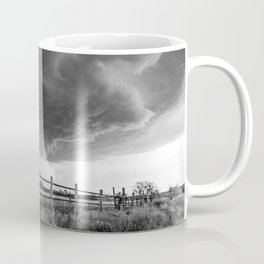 Fenced In - Storm Advances Over Old Fence on Ranch in Oklahoma in Black and White Coffee Mug