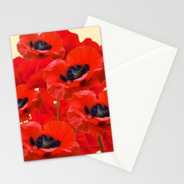 RED ORIENTAL POPPIES ON CREAM COLOR Stationery Cards