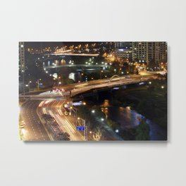 Traffic at Night in Jeongja, South Korea Metal Print