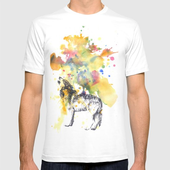 Howling Wolf in Splash of Color T-shirt