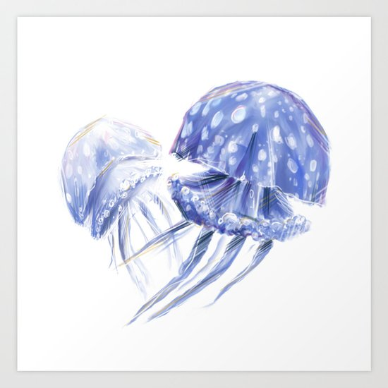 Jellyfish Sketch Art Print