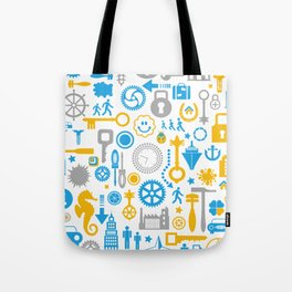 Colorful silhouettes of different objects on a white Tote Bag
