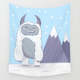 Yeti in the Mountains - Blue Wall Tapestry