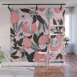 Flowering in the pink oranges Wall Mural