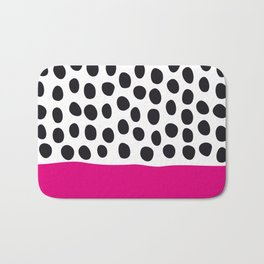 Modern Handpainted Polka Dots with Pink Bath Mat