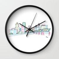 portland Wall Clocks featuring Portland by Ursula Rodgers