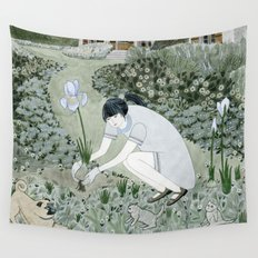Planting Irises Wall Tapestry