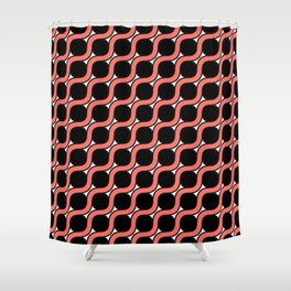 Between Circles in living coral, black and white Shower Curtain