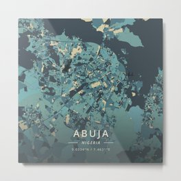 Abuja, Nigeria - Cream Blue Metal Print