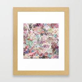 Grenoble map Framed Art Print