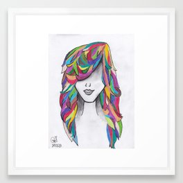Cabelo 1 - More than five colors in her hair Framed Art Print