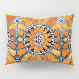 Celebrating the 70's - tangerine orange watercolor on grey Pillow Sham