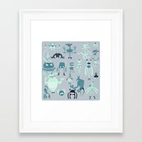 monsters Framed Art Prints featuring Monsters! by Fran Court