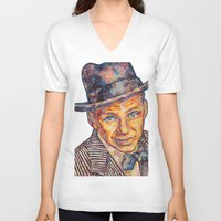 frank sinatra V-neck T-shirts featuring Frank Sinatra  by Sara Elyse Lehtman