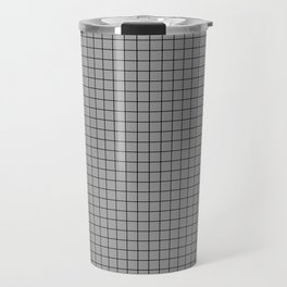 Grey Grid Black Line Travel Mug