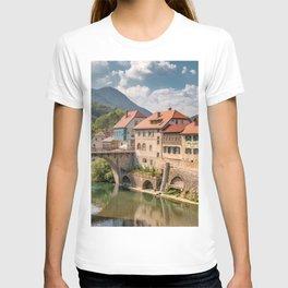 World Popular Ancient Capuchin Bridge Skofja Loka Slovenia Europe Ultra High Resolution T-shirt