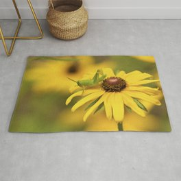 Young Grasshopper in Flower Field Rug
