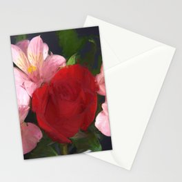 Pink and Red Flowers Stationery Cards