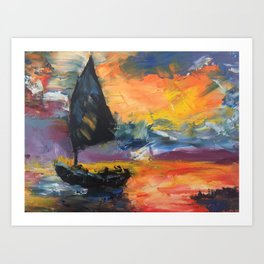 Yacht at Sunset Art Print