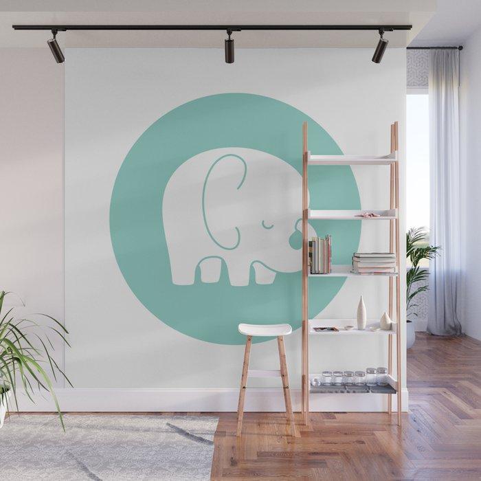 Mod Baby Elephant Teal Wall Mural