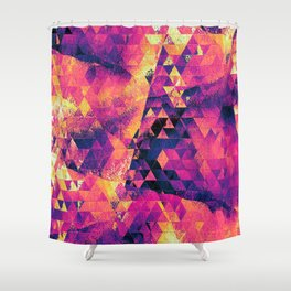Grungy Magenta Triangles Shower Curtain