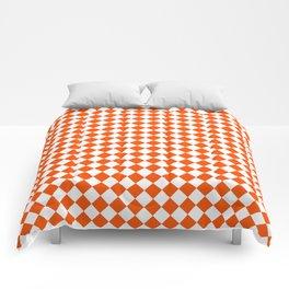 Small Diamonds - White and Dark Orange Comforters