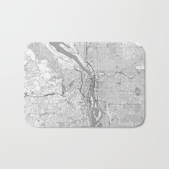 Portland City Map Line Bath Mat