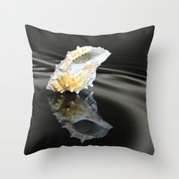 seashell Throw Pillows featuring Seashell by Lyn Evans