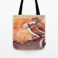 degas Tote Bags featuring Peach Ballerina by PureVintageLove