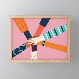 Holding hands circle Framed Mini Art Print