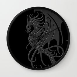 Flying Gray and Black Tribal Dragon Wall Clock