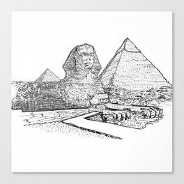 The Sphinx and the Great Pyramids of Giza. Canvas Print