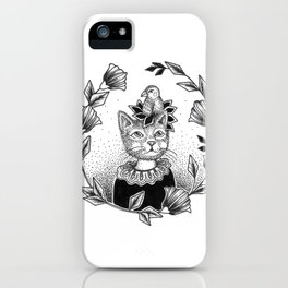 Cat Set 01 Ink Drawings - Cat and Bird iPhone Case