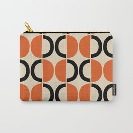Mid Century Modern Half Circle Pattern 524 Beige Orange and Black Carry-All Pouch