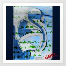 Mouses (blue) Art Print