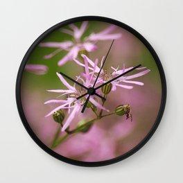 Pink Wildflowers Wall Clock