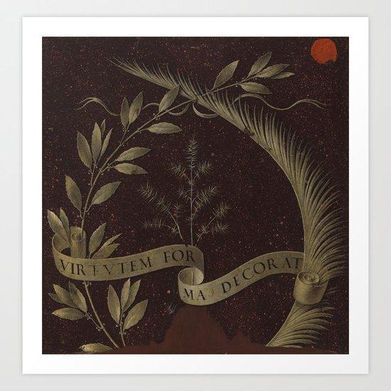 "Leonardo Da Vinci ""Wreath of Laurel, Palm, and Juniper with a Scroll inscribed Virtutem Forma Decor"" by alexandra_arts"