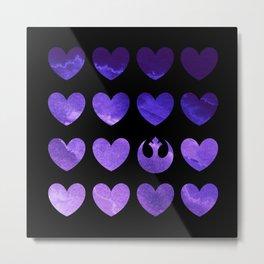 Rebel Alliance Purple Watercolor Hearts Metal Print