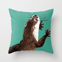 Asian small-clawed otter Marine Throw Pillow