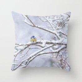 Blue Tit Bird On A Snowy Branch Winter Scene #decor #society6 #buyart Throw Pillow