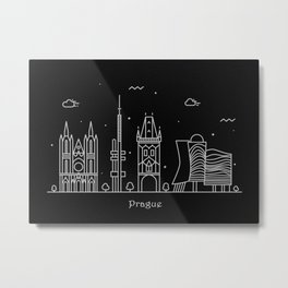 Prague Minimal Nightscape / Skyline Drawing Metal Print