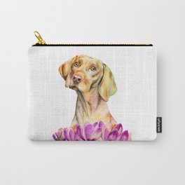 Angelic | Vizsla Dog and Crocus Flower Watercolor Painting Carry-All Pouch