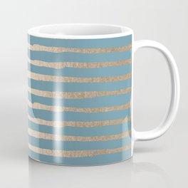 Abstract Stripes Gold Tropical Ocean Blue Coffee Mug